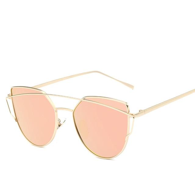 75a79f72e القط العين خمر العلامة التجارية مصمم روز الذهب مرآة النظارات الشمسية للنساء  معدن عاكس عدسات مسطحة