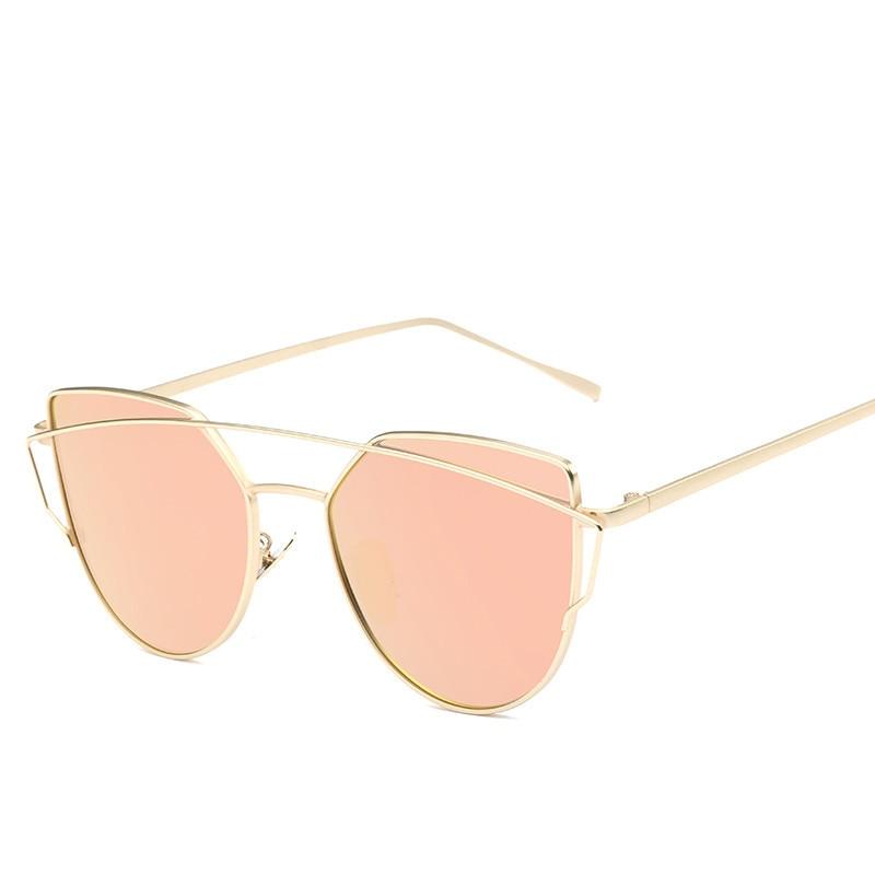 Cat Eye Vintage Brand Designer Rose Gold Mirror Sunglasses For Women Metal Reflective Flat Lens Sun Glasses Female 2018