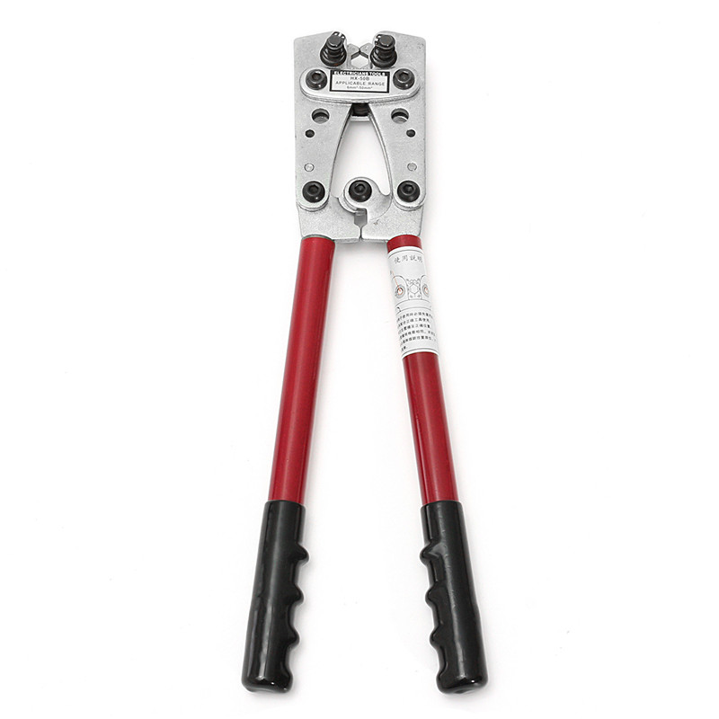 цены на LX-50B 6-50mm2 Copper Tube Terminal Crimping Tool Plier for Heavy Duty Cable Lug High Quality SCM-40 Super-Hard Steel Red Black в интернет-магазинах