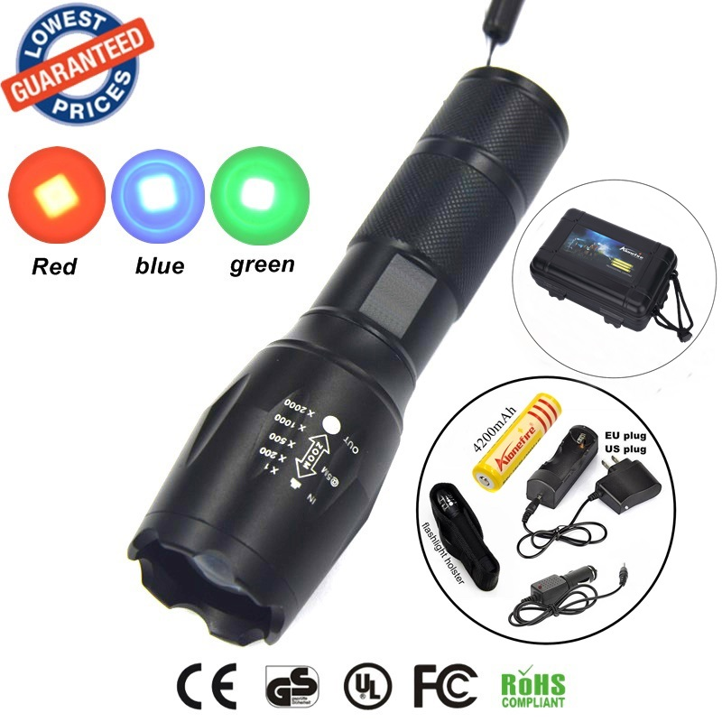 E17 A100 CREE gun tactical Flashlight Torch Red/Green/Blue Light LED Hunting + 1x18650 Rechargeable battery/car cahrger/holster c8 q5 led hunting flashlight torch cree led red green blue light camping lamp 1 mode 18650 battery charger gun mount switch