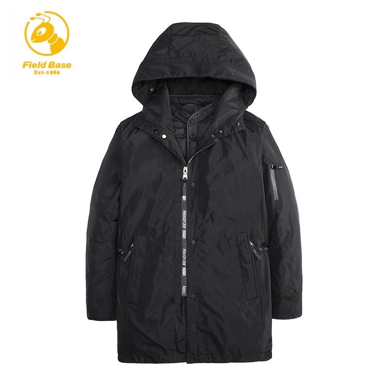 FIeld Base Men Winter Hooded Jackets 2 in 1 Mens Warm Medium Long Coats 3XL Fashion Snow Thick Parkas Man High Quality