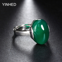 YINHED Genuine 925 Sterling Silver Jewelry Big Green Red Synthetic Ruby Adjustable Finger Rings For Women