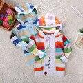 Hot Boys niñas suéteres bebé del arco iris rayas hecha punto otoño invierno suéteres con capucha de cuerpo abierto prendas de vestir exteriores caliente suéteres