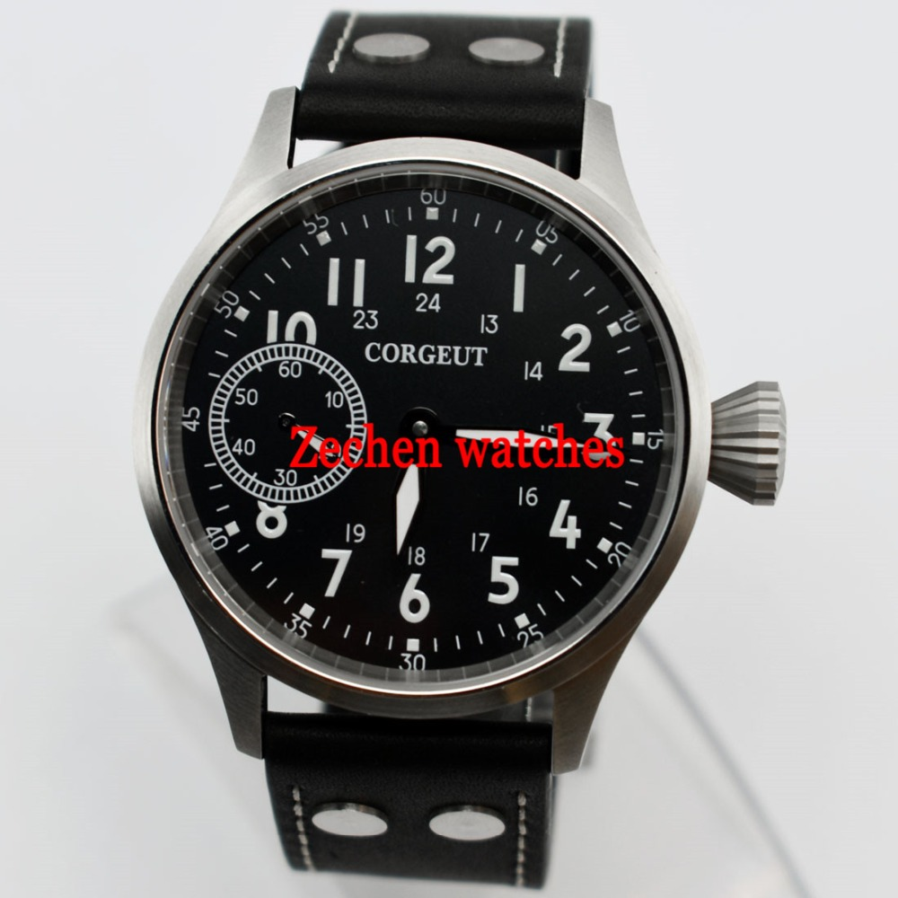 44mm Corgeut Black Luminous Dial 17 Jewelry 6497 Mechanical Hand Winding Movement Men Watch 44mm black sterile dial green marks relojes 6497 mens mechanical hand winding watch luminous armbanduhr cm164bk