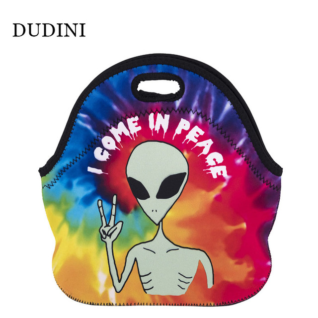 DUDINI New Style Portable Lunch Bag Cartoon Printing Pattern Lunch Bags For Women Polyester Material Small Insulation Picnic Bag