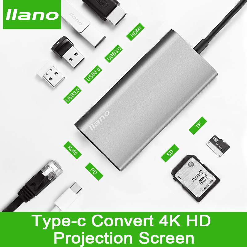 llano USB docking station All-in-One USB-C to HDMI Card Reader RJ45 PD Adapter for MacBook Samsung Galaxy S9 /S8 / S8+Type C HUB lermony yz04 0001