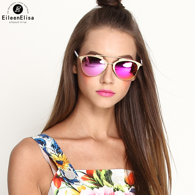 EE HOT SALE Cat Eye Sunglasses Women Mirror Gold Rose Lens Sun Glasses For Woman Fashion Glasses Oculos Se Sol Feminino