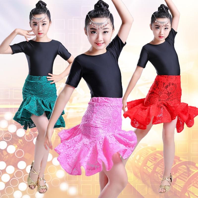 child children professional latin dance dress for girls lace skirt patterns ballroom dancing dresses kids rumba cha cha costumes