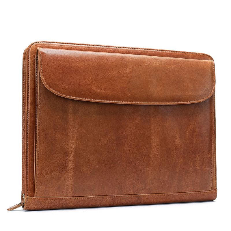Document Organizer Genuine Leather Ipad Bag Luxury Business Briefcase Men Women's Laptop Handbag Zipper Office Case Handmade Bag