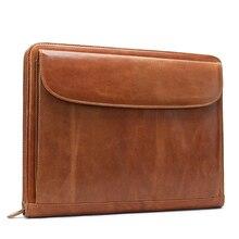 Document Organizer Genuine Leather Ipad Bag Luxury Business Briefcase Men Women's Laptop