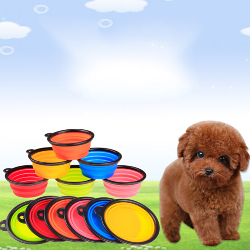 Top Sale Luxury Pet Peoducts Silica Gel Bowl Dog Folding Portable Feeders Bowls For Dogs Six Colors 13cmX9cmX5.5cm Free Shipping