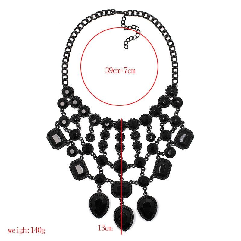 2016 Z design wholesale fashion necklace Europe costume chunky crystal choker tassel bib pendantNecklace statement jewelryNHJJ0156