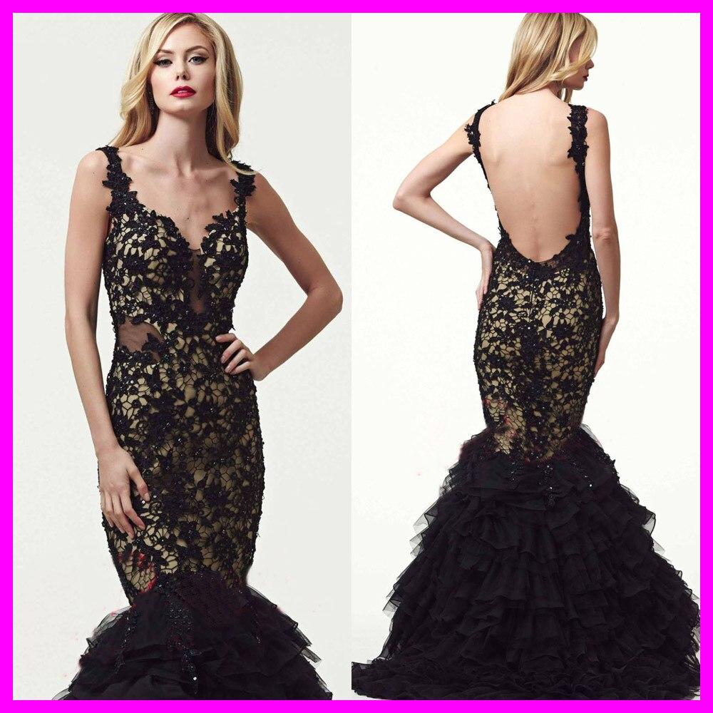 Robe De Soiree Formal Black DeeP V-Neck Tank Sleeveless Lace Backless With Ruffles Beaded Long   Evening     Dress   2015 EH-154M