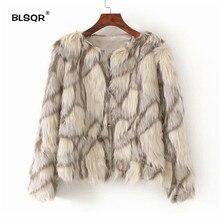 Fluffy Warm Faux fur Coat Women Fake Fur Short Winter Coat Female 2018 Autumn Chic Contrast Color Party Casual Furry Overcoat