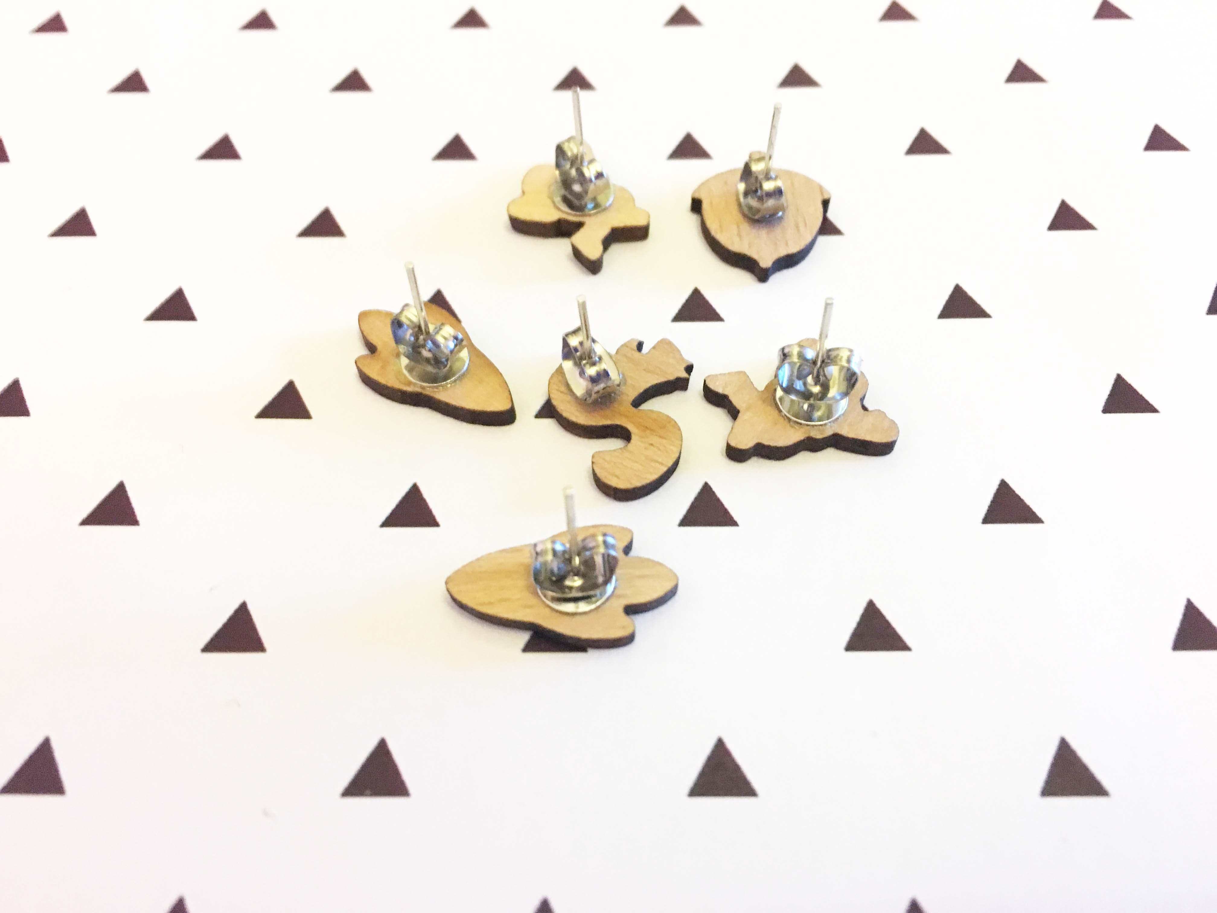 Majhni ročno izdelani leseni uhani za astronavte in vesoljske ladje - Modni nakit - Fotografija 6
