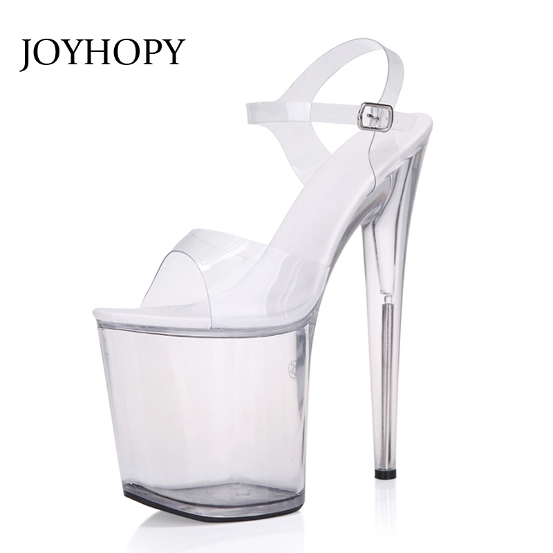 JOYHOPY Super High Heels 20cm Sexy Nightclub Party Crystal Waterproof Wedding Sandals With Thin Women's Platform Gladiator Shoes s xl jeans casual loose denim pants 2018 new spring mid waist tassel wide leg jeans pants for women
