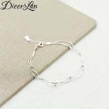 DIEERLAN New Designer 925 srebro biżuteria moda markowy łańcuszek koraliki Ball bransoletki dla kobiet akcesoria ślubne Bijoux