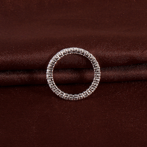 Image 3 - DovEggs קלאסי 10K לבן זהב 1ctw 2mm ברק Moissanite אירוסין טבעת לנשים נצח כלה חתונה להקות