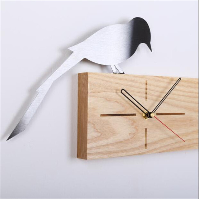 PINJEAS Chic Modern Wood Wall Clock For Home Decorations Simple Europe Style Ornament Living Room Mural Clocks Wooden Crafts
