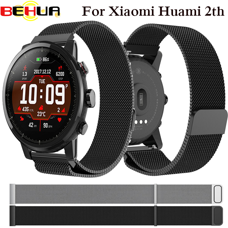 Band For Huami Amazfit 2th Stratos pace watch Strap Magnetic Stainless Steel smartwatch heart rate monitor wristband 22mm Band