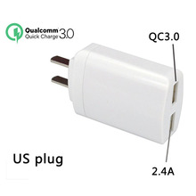 UVR QC 3.0 USB Fast Charger Adapter EU US Plug dual usb charger for iPhone Samsung Huawei