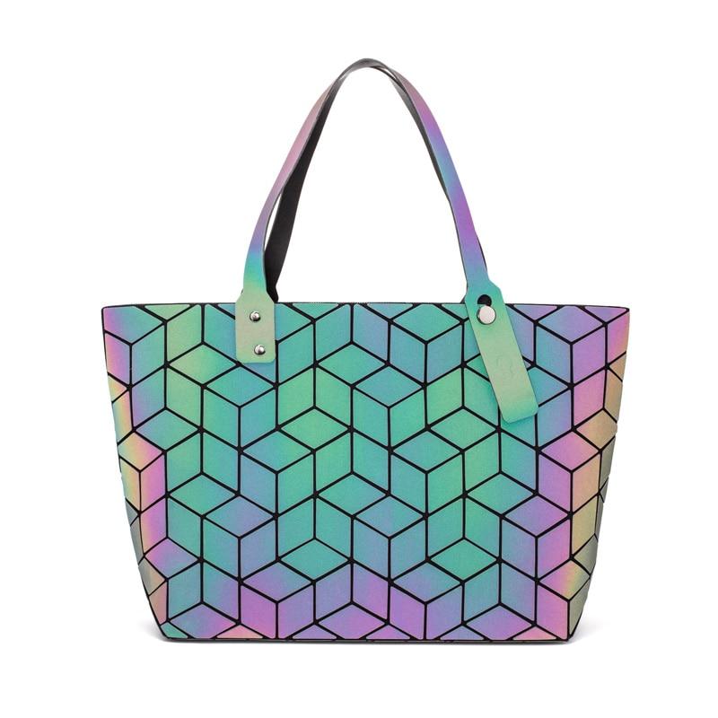 140ddaaa30d9 2018 новые женские сумки Bao геометрические складные сумки светящиеся  каналы сумки, повседневные торбы Bao женские