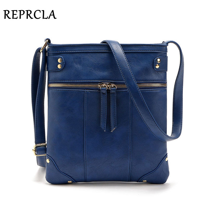 REPRUKA European Vintage Women Bag Dubbla Zipper Women Messenger Väskor Hög kvalitet PU Shoulder Bag Crossbody 9L33