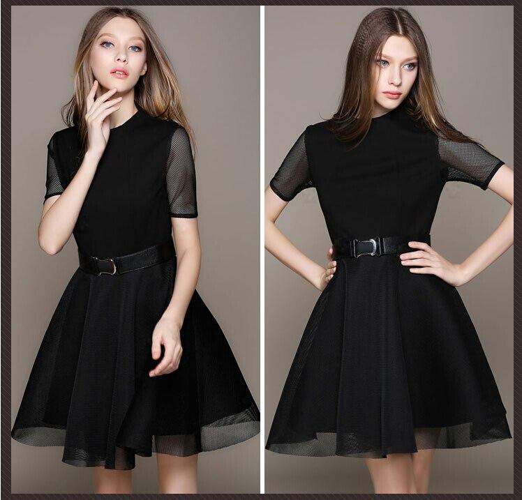 Euro Summer Style mesh Elastic Knitted Black Dress 2015 Short sleeve Slim  Little Black Dress Work Wear With Belt Vestidos 58022-in Dresses from  Women s ... 517381cdd