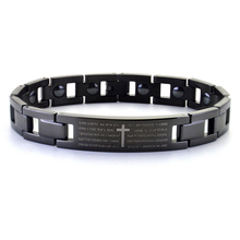 Men Women Bracelets Fashion Black Cross Titanium Steel Europe Verses Inlaid Germanium Magnet Stone Health Jewelry For Men