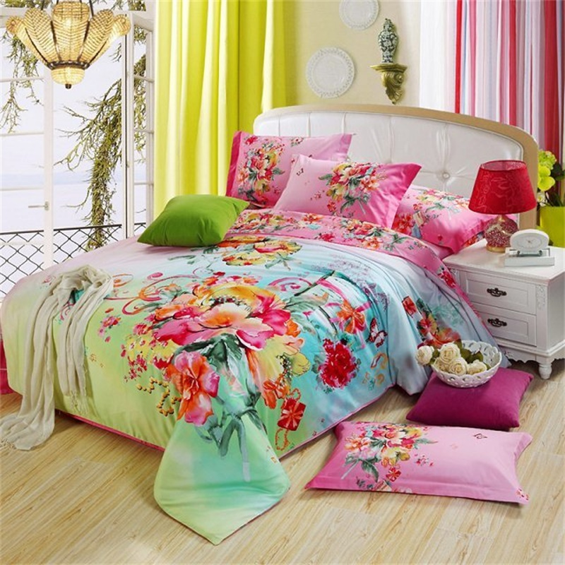 Watercolor Painting Flowers Bedding Set Queen Size 100