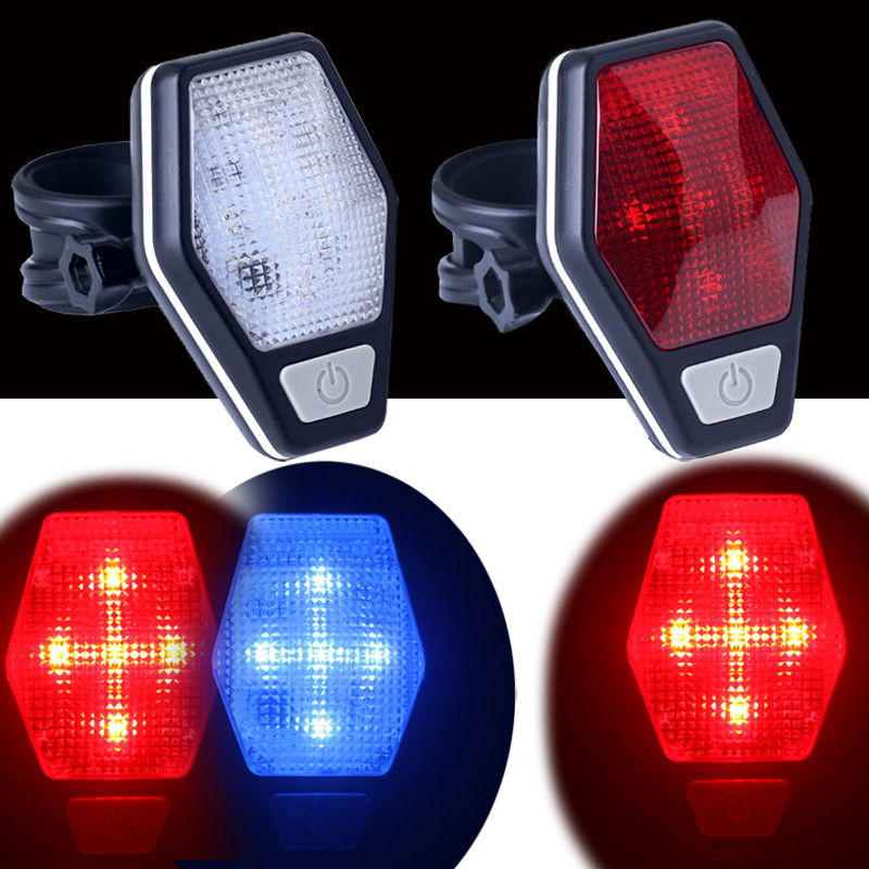Bicycle Light Battery Bike Light Mount on the Mudguard Red Safe Warning Bicycle Taillight Bike Rear Discolor Light Flashlight