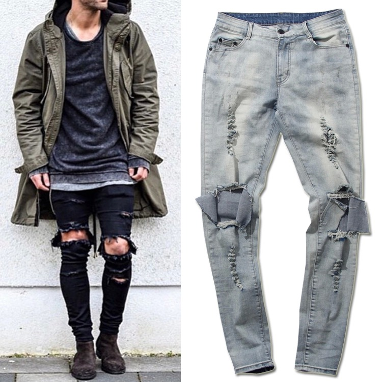 Cool Skinny Ripped Jeans For Men Big Hole On Knee Scratched ...