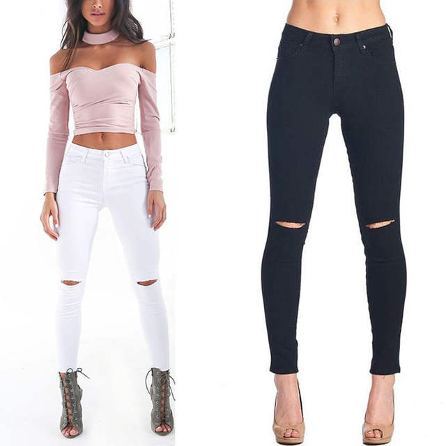 great fit buying cheap new images of Taille haute Skinny Jeans femmes mode genou trou Slim Stretch Jeans  Feminina noir blanc Push Up Vintage Pantalon Femme 2017