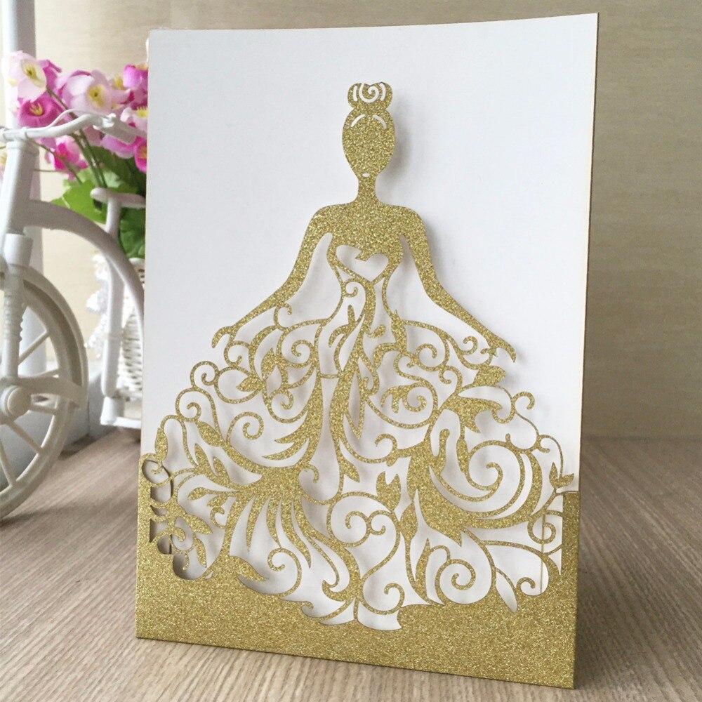 50pcs Lot Elegant Silver Purple Gold Invitation Card Laser Cut Glitter Per Wedding 2017 New Ceremony In Cards Invitations From