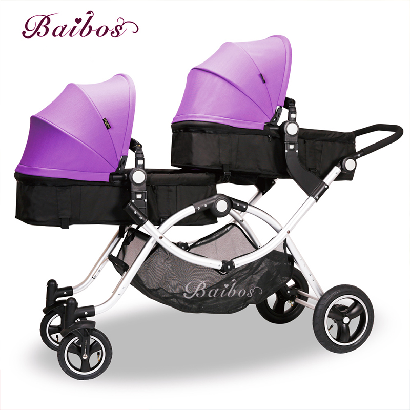 Baibos post shredded twins baby stroller double front and rear