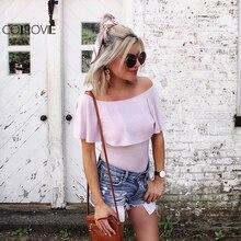 Colrovie пикантные летние Для женщин одежда короткий комбинезон плотная абрикос рюшами с плеча Половина рукава оболочки боди