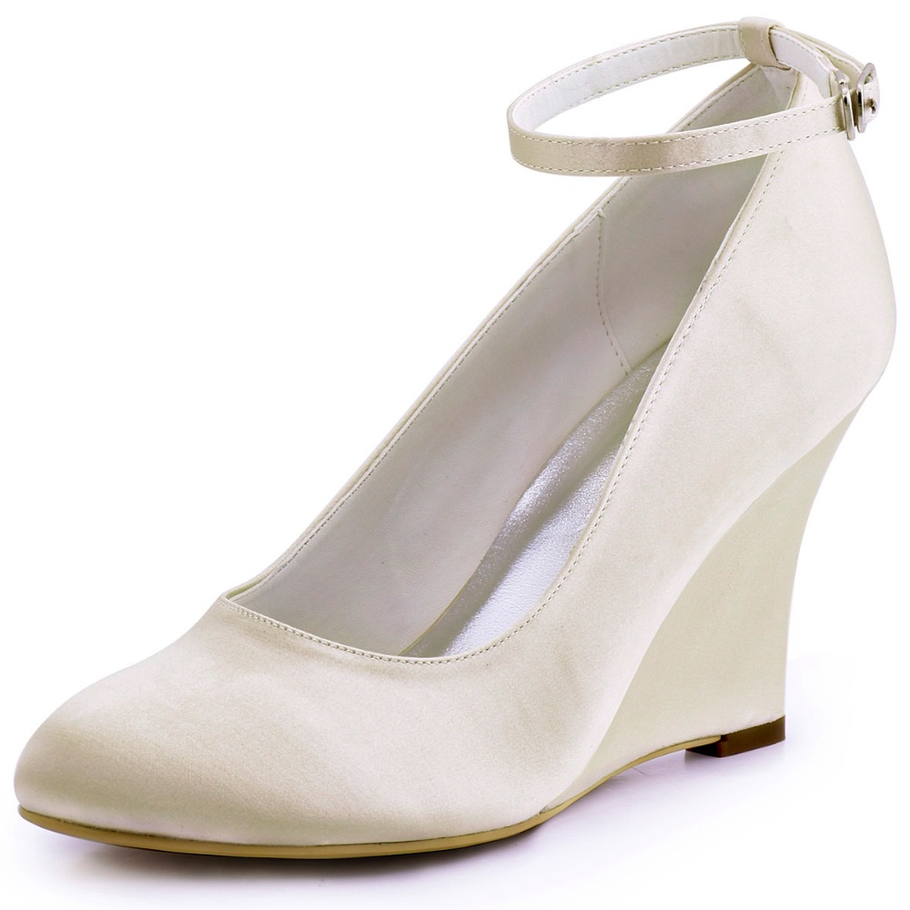 f504b9e8b3f641 A610 Ivory White Women Shoes Bride Formal Bridal Party Pumps Round Closed  Toe Wedge Heel Pleat Buckles Satin Wedding Shoes