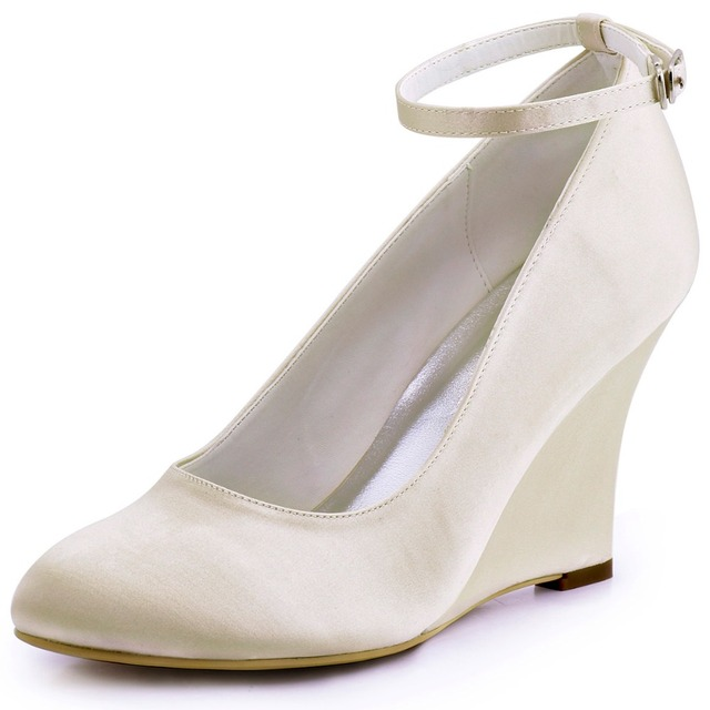 A610 Ivory White Women Shoes Bride Formal Bridal Party Pumps Round Closed  Toe Wedge Heel Pleat Buckles Satin Wedding Shoes 1b525a85b79f