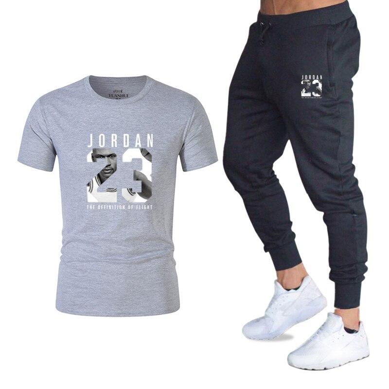 ba75d85af7 2019 New T-shirt+Pants Men's Sets Jordan 23 Print Men Brand Clothing Two  piece suit Men Sportswear Tracksuit Gyms Jogger Sets