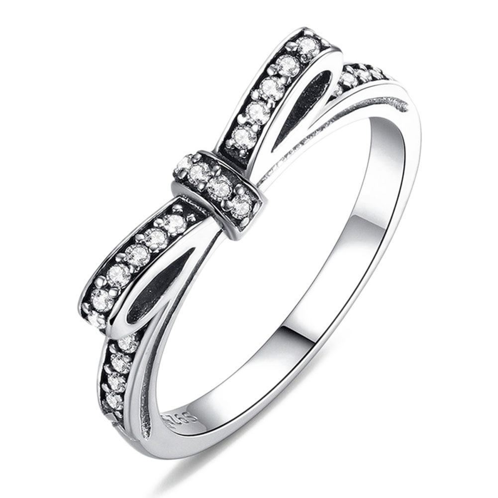 5size  high qulity Sparkling Bow Knot Stackable Ring Micro Pave CZ Wedding Compatible With Pan Jewelry