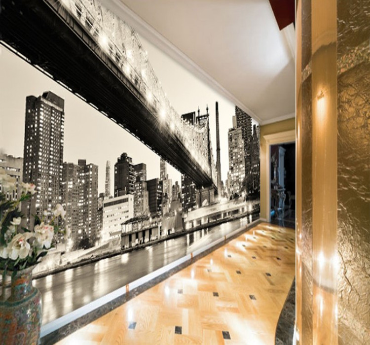 la ciudad de nueva york manhattan bridge mural papel pintado de fotos wallpaper hoom decoracin
