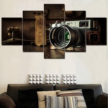 Canvas Painting Home Decor Modern Wall Art HD Prints 5 Piece Old Fashioned Retro Camera Picture For Living Room Framework