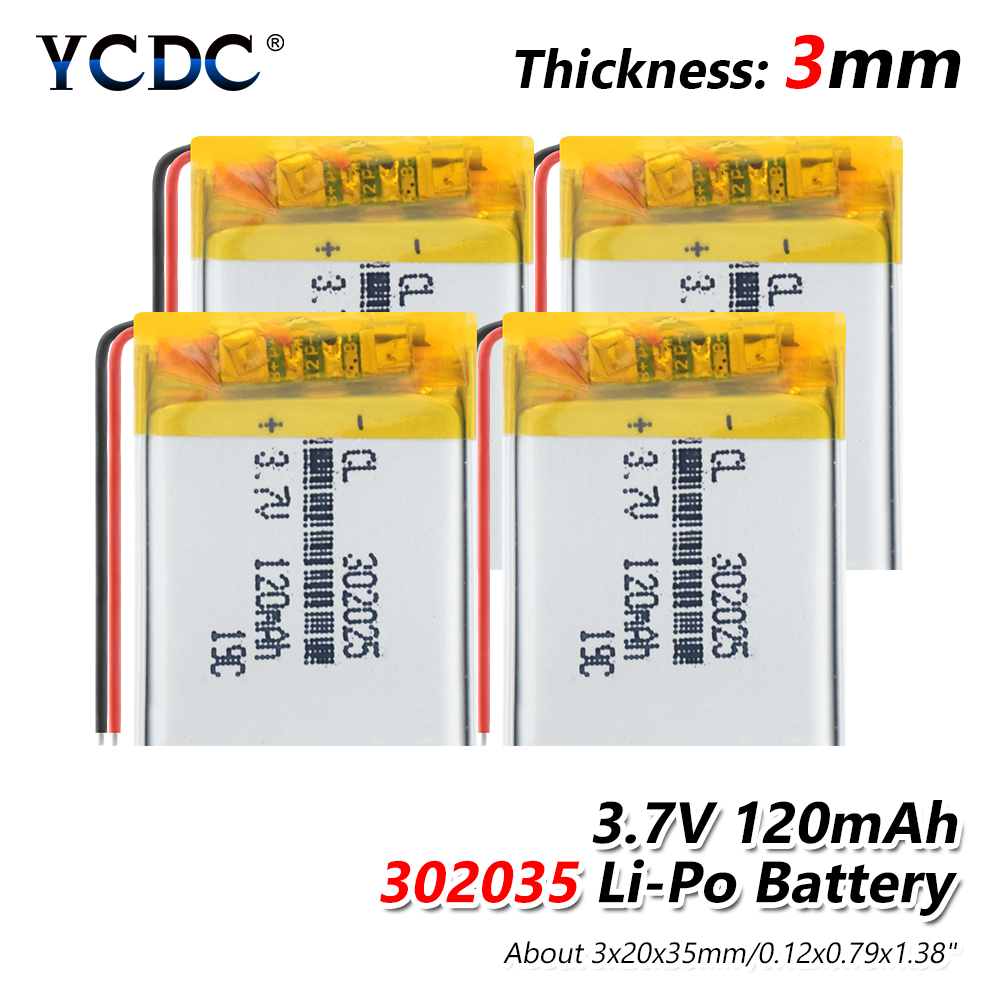 Rechargeable battery <font><b>302025</b></font> 120mAh 3.7 V Supply lithium battery lithium polymer For MP3 MP4 MP5 GPS PSP MID Bluetooth Headset image