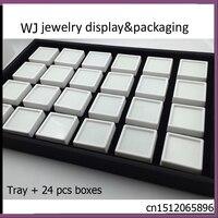 Nieuwe Witte Memory Foam Insert Gem Potten Edelsteen Opslag Display lade met 24 stks Dozen Losse Diamant Kralen Sieraden Toonde Case Kit