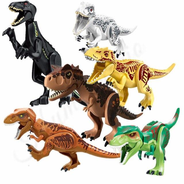 2Pcs/lot Jurassic World Dinosaur Carnotaurus Indominus Rex Indoraptor Dino Building Blocks Bricks Action For Children Toys Gift