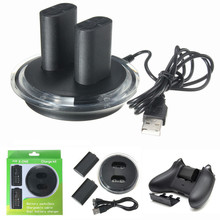 Noir Dual USB Charging Dock Station Gamepad Chargeur + 2 Batterie Rechargeable pour MANETTE XBOX ONE Charge Kit