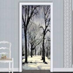 Nowoczesny czarny i biały las krajobraz drzwi naklejki salon restauracja tapeta 3D PVC samoprzylepne naklejki drzwi naklejki|Naklejki na drzwi|   -