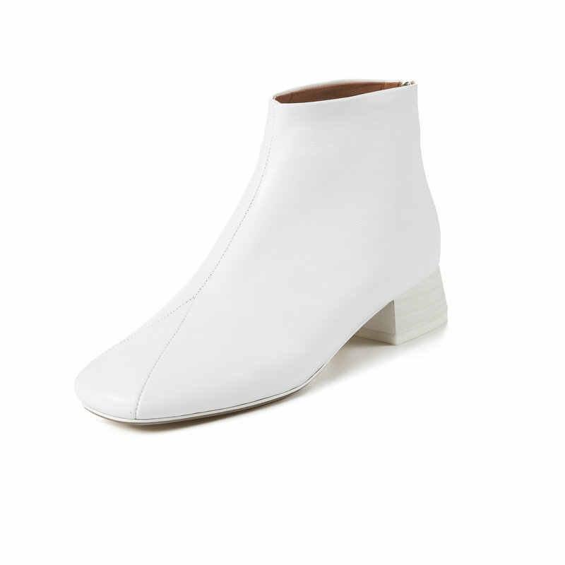 TXCNMB 2019 Laarzen Vrouwen Enkellaars voor Vrouwen Winter Lederen Vierkante Hoge Hak Zwarte Schoenen Vrouw Maat 35- 43