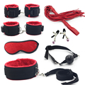7  Pcs/Set Bondage Adult Flirt Game Sex Toys for Couple ,Nipple Clamps Foot Handcuff for Sex Ball Gag Whip Collar Eye Mask