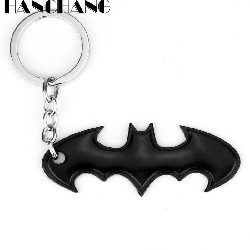 HANCHANG Accessories Batman Keychain DC Comics Key Ring Black Mans Fashion Key Chains llaveros chaveiro